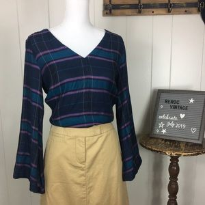 NWT Loft bell sleeve plaid blouse